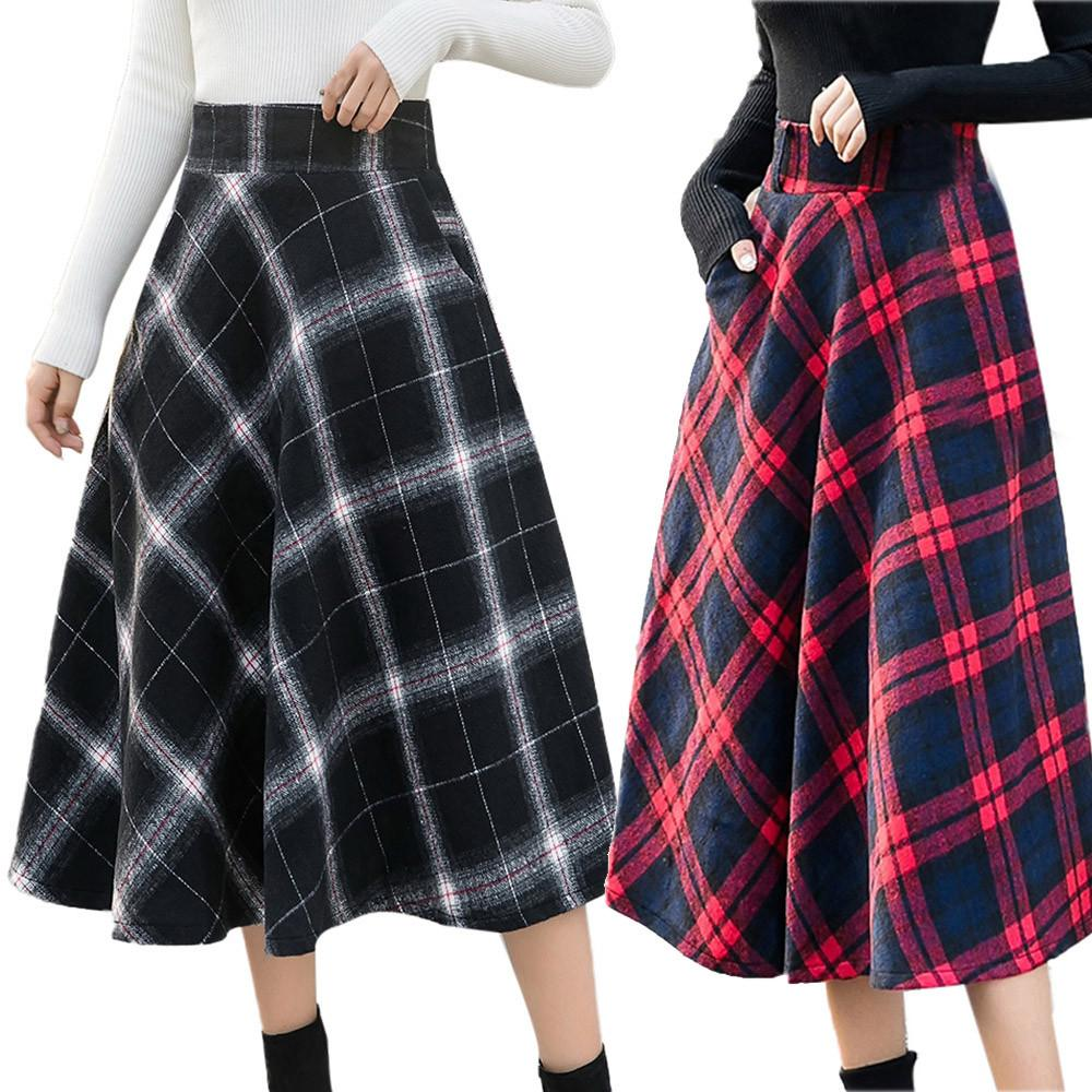 Womens High Elastic Cotton Plaid Casual Waist Plaid Skirt A-line Plaid Winter Warm Flare Long Skirt