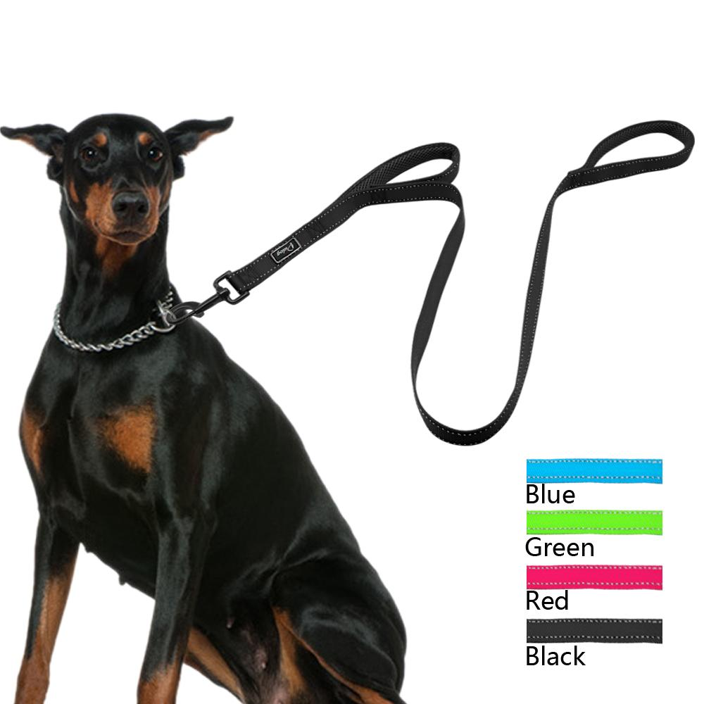2cb55ecd9375 Reflective Nylon Dog Leash Heavy Duty Mesh Padded 2 Handle Leads Dogs  leashes for Large Medium Pet Lightweight