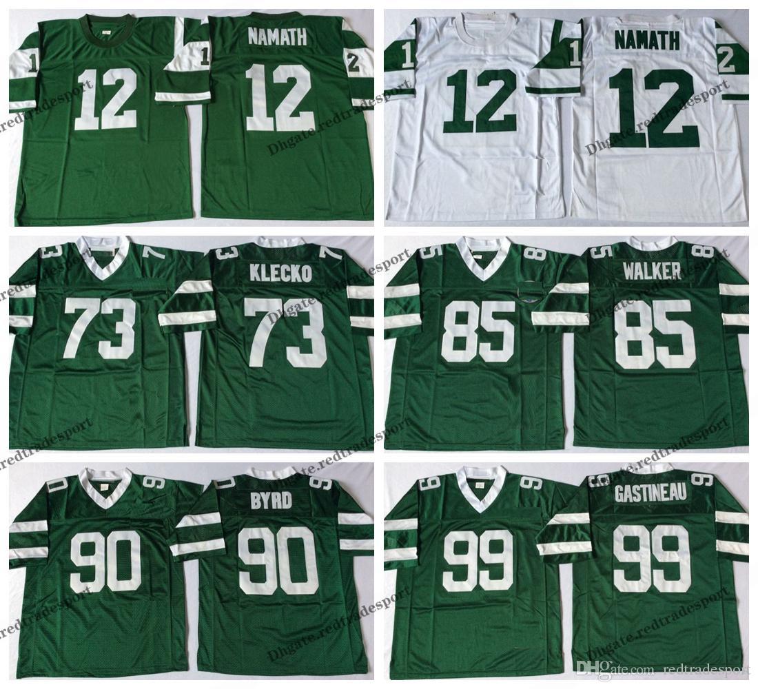 buy popular 8d22d 23822 Vintage New York 12 Jets Joe Namath Football Jerseys 73 Joe Klecko 90  Dennis Byrd 99 Mark Gastineau 85 Wesley Walker Stitched Shirts