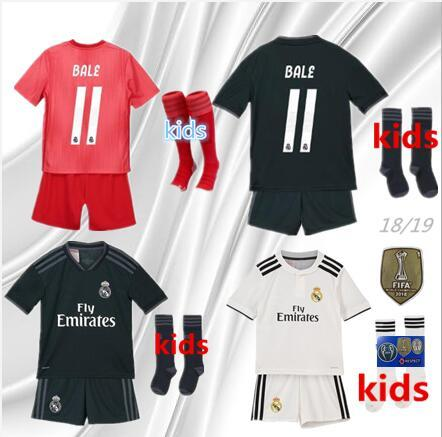50f3a2d00e3 2019 2018 Real Madrid Ea Sports Kids Kit Soccer Jerseys 2018 19 Home White  Away 3RD 4TH Boy Child Youth Modric ISCO BALE KROOS Football Shirts From ...