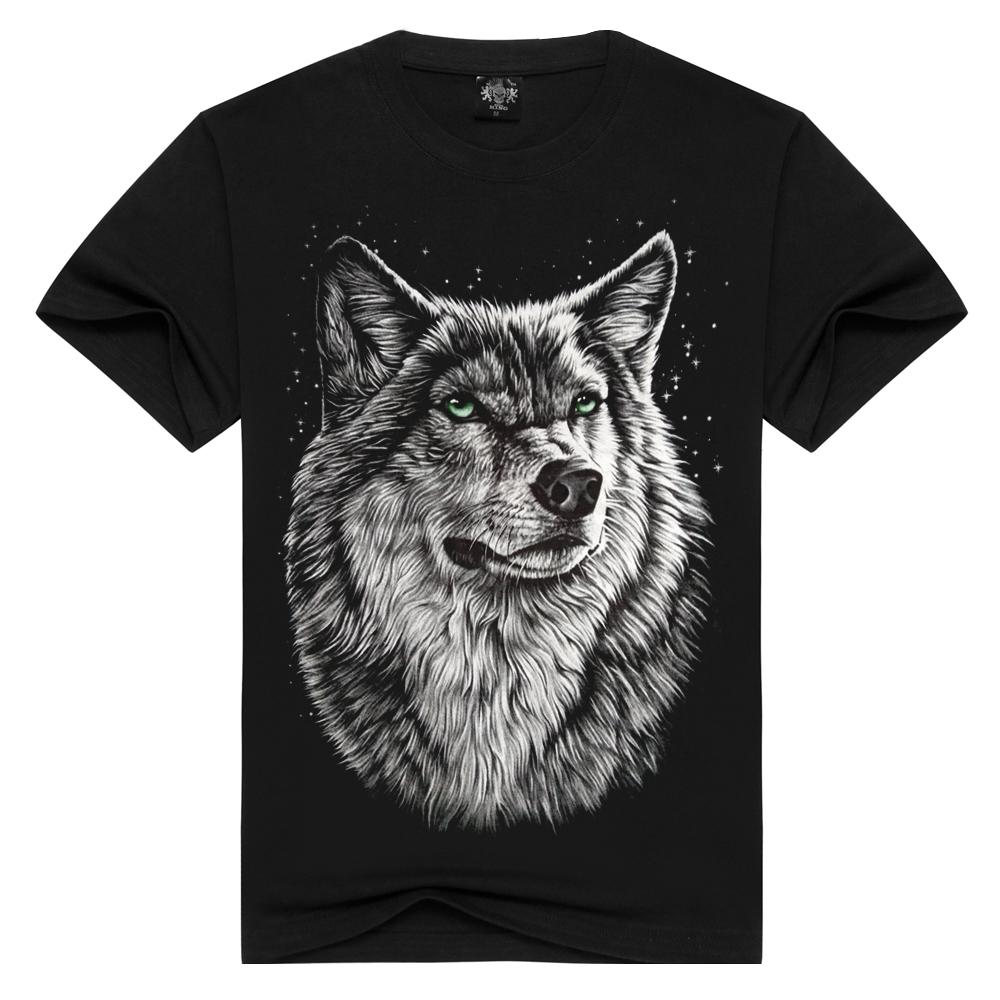 White Wolf Printing Design Men's 100% Cotton T-shirt Men Black Shirt 3d Skull T-shirts Loose Tshirt Man Plus Size C19041901