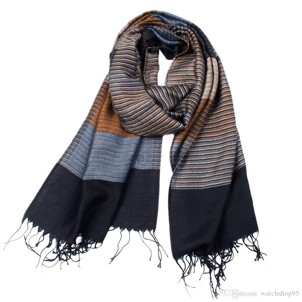 Men's Winter Warm Fringe Fashion Formal Soft Feel Stripe Scarves Casual Thicken Reversible Scarf Free Shipping