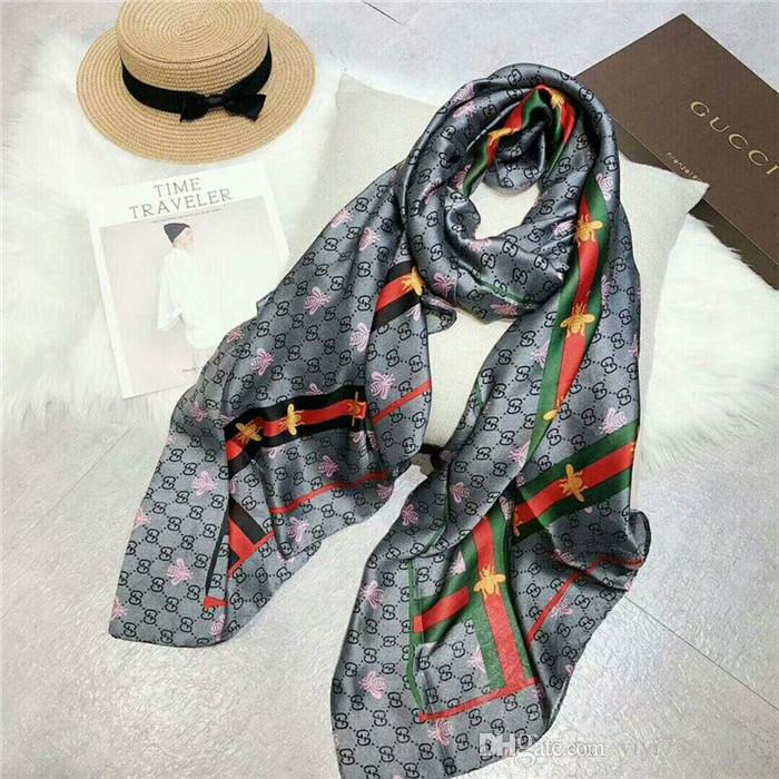 latest brand silk scarves classic printed silk scarves fashionable women's soft and light scarf beach towel