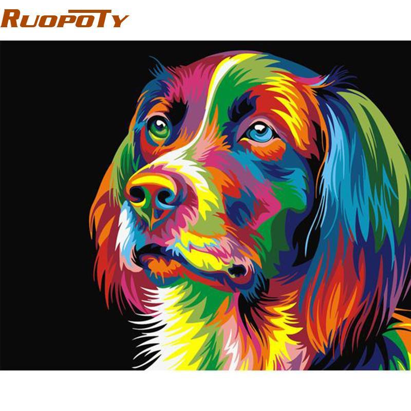Satın Al Ruopoty Diy çerçeve Renkli Köpek Diy Boyama By