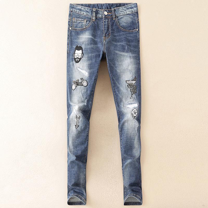 d13264062 Pantalones vaqueros para hombre 2019 Primavera y verano Otoño Moda de  hombre Ropa bordada Jeans de lavado Edición coreana Juventud En Cintura ...