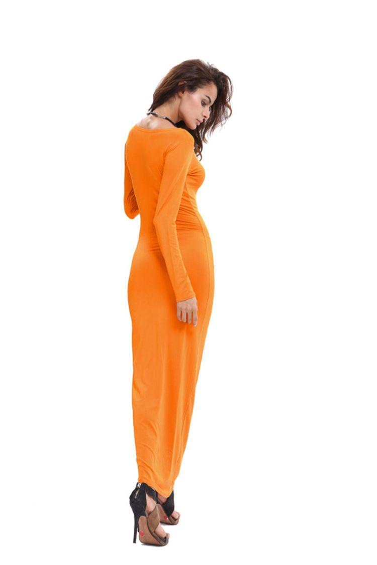 2018 Otoño Invierno Maxi Manga larga con o-cuello elegante Sexy Stretch Bodycon Delgado vestido de noche túnica hasta el suelo túnica vestidos de las mujeres