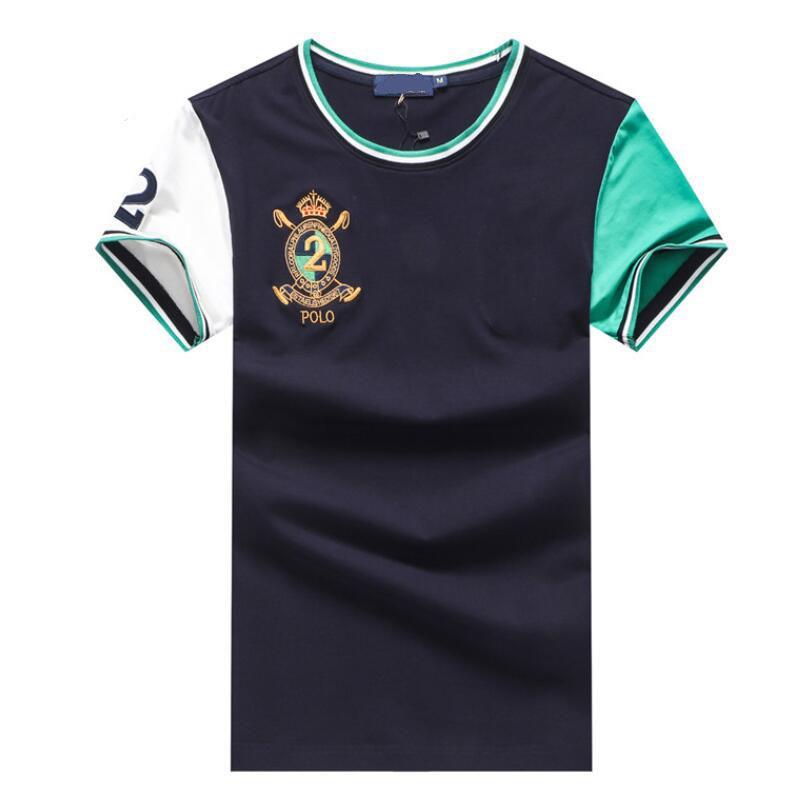 3b0270486b5 Compre Nuevas Camisetas De Lujo Para Hombre Diseñador De Moda Bordado Cuello  Redondo Camiseta Contraste De Color Manga Corta Camiseta A  33.46 Del ...