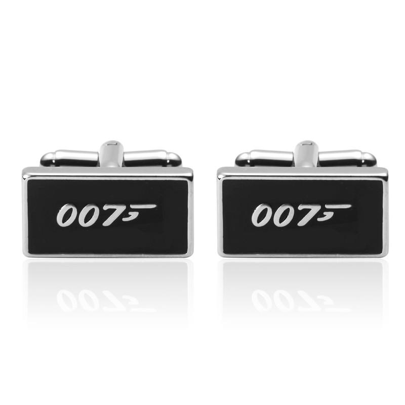 Luxury shirt Black 007 cufflink for mens Brand cuff buttons cuff links High Quality abotoaduras Jewelr
