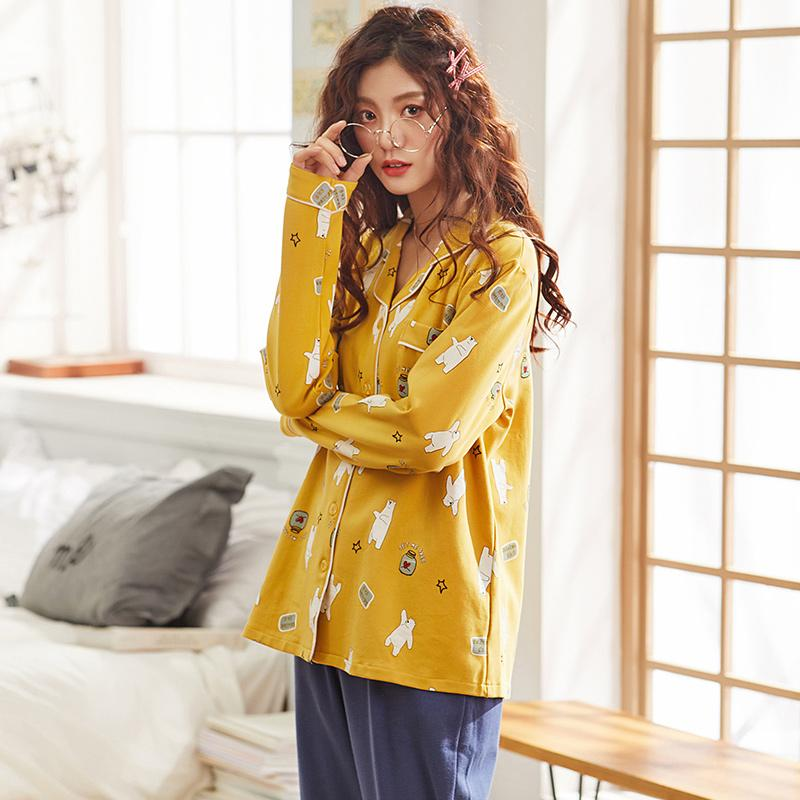 4226fac607 2019 J Q New Stylish Girls Home Wear Cartoon Printed Cardigan Solid Bottoms  Pajamas Set Winter Pyjama Women Cotton Lingerie Nightwear From Industrial