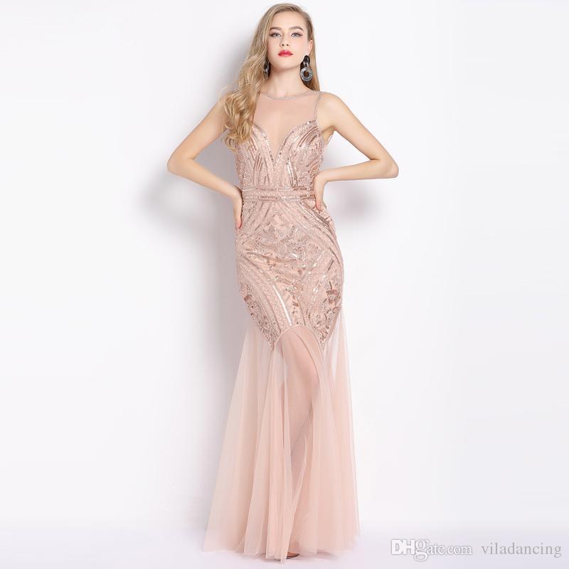 fe883c9574f70 2019 Women Sleeveless V Back Sheer Long Vestido Beaded Sequin Maxi Dress  Vintage 1920s Great Gatsby Dress Flapper Party Formal Dress From  Viladancing, ...