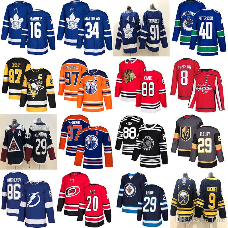 98e2b9542 2019 Toronto Maple Leafs Jersey Chicago Blackhawks Hockey Jerseys Vancouver  Canucks 40 Elias Pettersson Edmonton Oilers 97 Vegas Golden Knig Jersey  Hockey ...