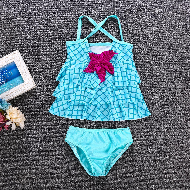 4bf603bba4f91 2019 Children Girls Swimwear 2019 Summer Two Pieces Bathing Suits Baby  Mermaid Starfish Swimsuit Cartoon Kids Fish Scale Bikinis From  Fashiondress520, ...