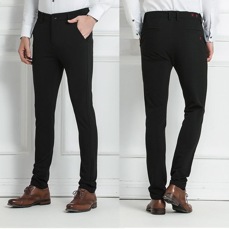 df6a4fe9e7 Compre Drizzte Hombre Pantalones De Vestir Negros Ocasionales Estiramiento  De Calidad Pantalones Delgados Con Estilo Pantalones De Negocios Tamaño 28  29 30 ...