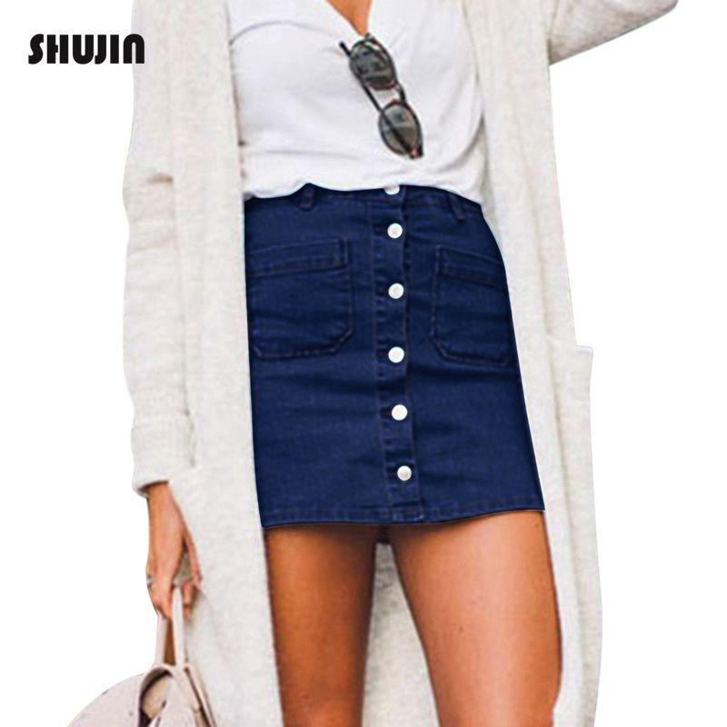 9b834acc80 SHUJIN Denim Skirt High Waist A-Line Mini Skirts Women Button Pockets Bule Jeans  Skirt Girls Casual Fashion Skirt Plus Size