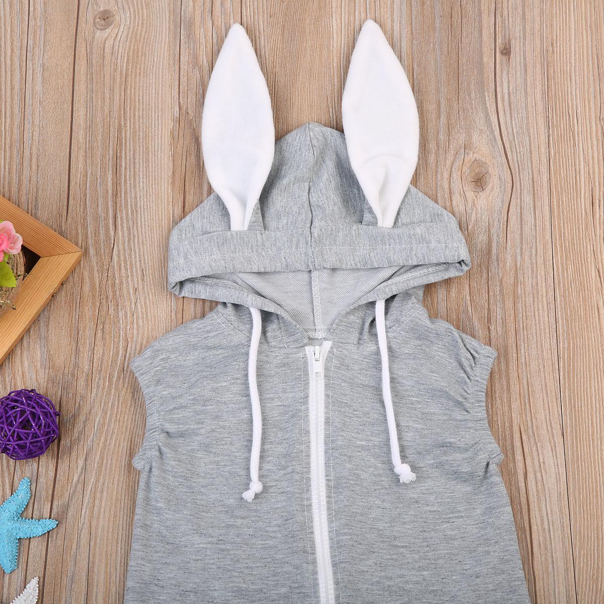 유아 신생아 아기 의류 아기 소년 소녀 3D 토끼 장난 꾸러기 민소매 후드 점프 수트 의상 여름 의류