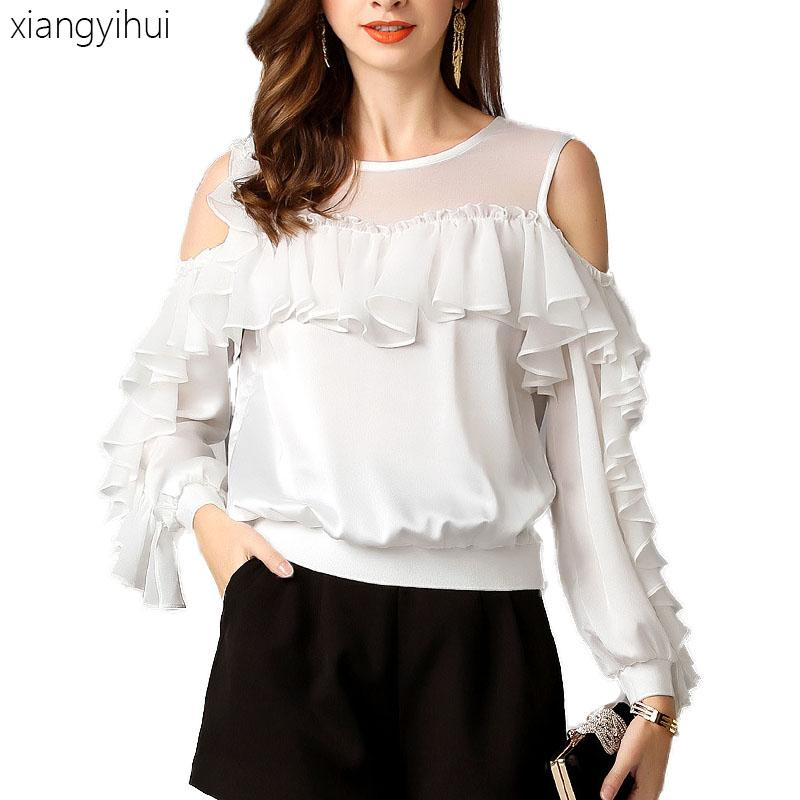 8c6040a4da09a7 2019 Casual Ruffle Chiffon Tops And Blouses Women'S Off The Shoulder Long  Sleeve Office Shirts Round Neck Summer Shirt Blouse 2019 From Lemon888, ...