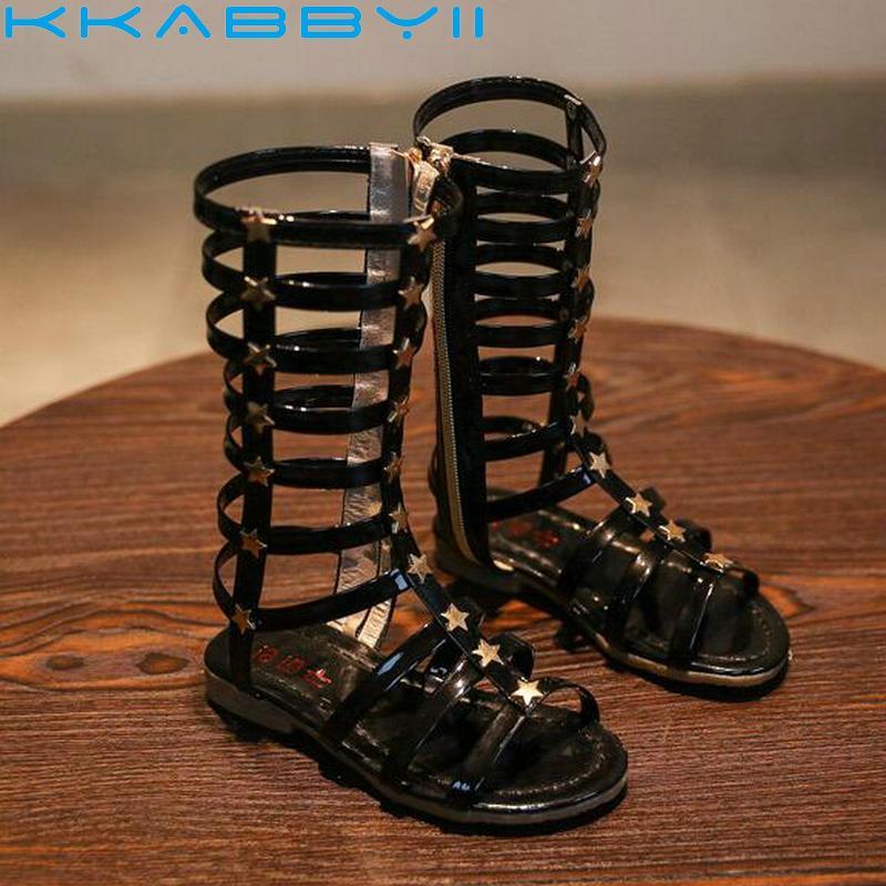 86eff7621 2019 Summer Baby Girl Cut Outs Hollow Roman Sandals Children Knee Boots Gladiator  Kid Flat Glitter Star Zipper PU Shoes Kids Brown Shoes Shoes Kids Online ...