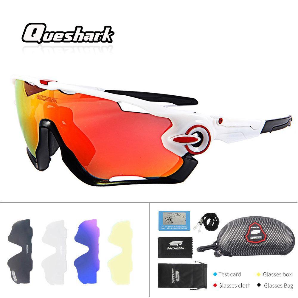 3806ba2bb9aa6 Compre Queshark Profissional De Alta Qualidade 5 Lente   Set Polarizada  Ciclismo Óculos Óculos De Sol Esporte Ao Ar Livre Mountain Bike MTB Óculos  De ...