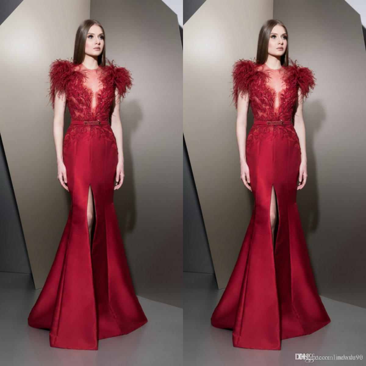 3a34d5a73818 Ziad Nakad 2019 Red Mermaid Evening Dresses Jewel Neck Lace Appliques  Illusion Short Sleeve Front Split Prom Gowns Formal Party Dresses Blue Evening  Dress ...