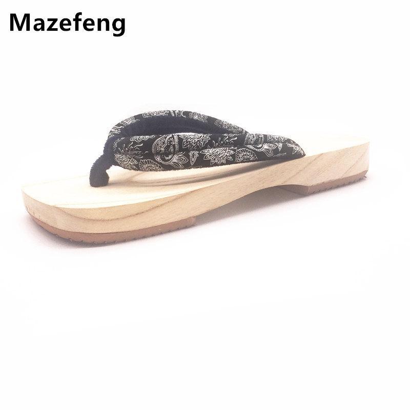 0a81a54e7df6a Mazefeng Brand Japanese Geta Clogs Men Flip Flops Sandals Summer Wooden  Slippers Flat Sandals Paulownia Antiskid Geta Clogs Ladies Footwear Womens  Ankle ...
