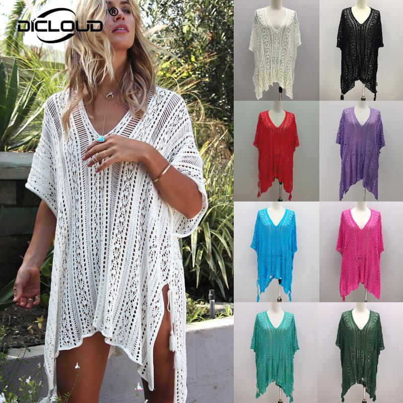 38e8969d30 Women Summer Knitted Pullover Casual Oversized Long Jumper Femme Crochet  Sweater Fashion Sexy Beachwear Cover Ups Women UK 2019 From Yukime