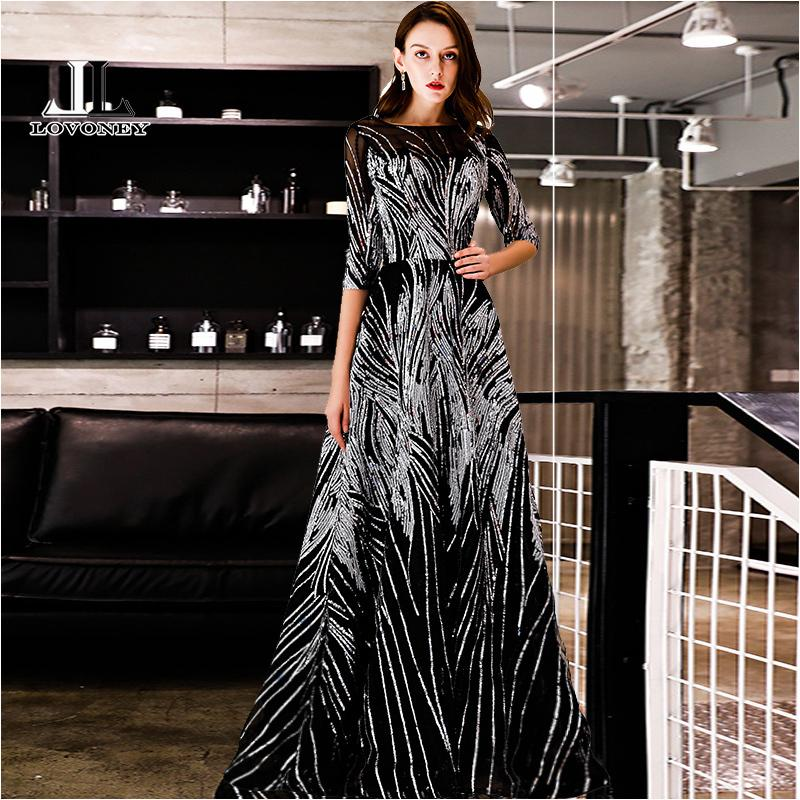 Lovoney Evening Dress With Sequins A Line Half Sleeves Formal Dress Evening Party Gown Occasion Dresses Robe De Soiree Ys437 Y19042701