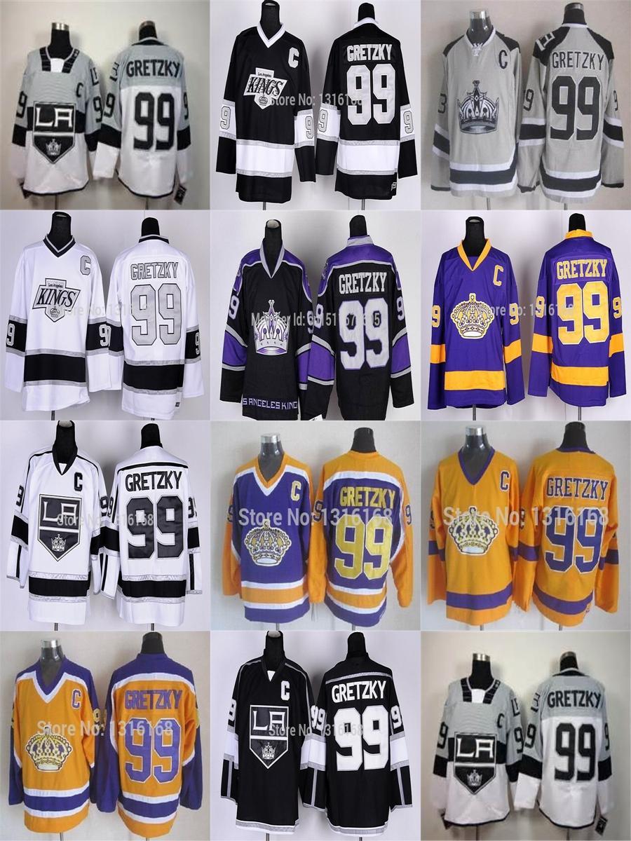 best service 55e5a 80b77 2016 Los Angeles Kings #99 Wayne Gretzky Jersey Black White Yellow Purple  Camo LA Kings Gretzky Jerseys