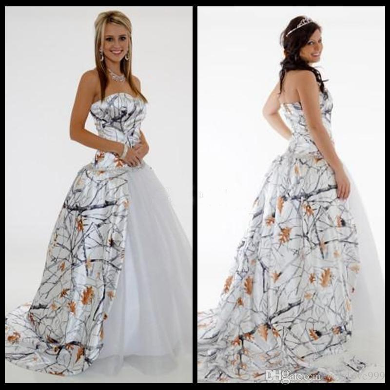 Weddings & Events 2019 Fashion 2019 Sweetheart Camo Draped Skirt A-line Wedding Dresses White Tulle Under Skirt Bridal Gowns Custom Made Online Camouflage