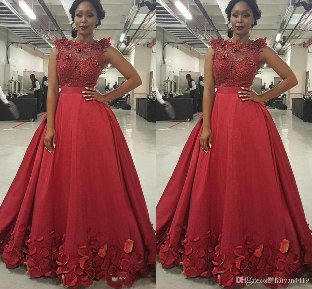 Sleeveless Jewel Neck Bright Red Prom Dresses With Petals Floral