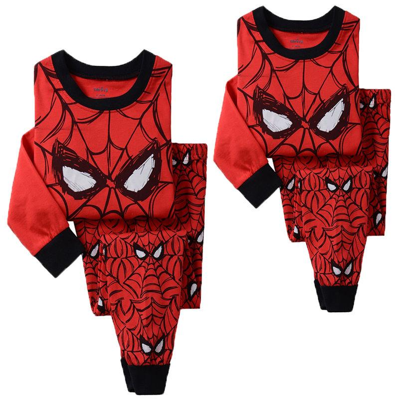 Pudcoco Boy Clothes Kids Boy Spider man Top T-shirt+Pants Outfit Pajama Sleepwear Nightwear Set
