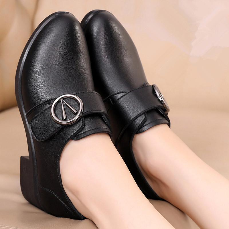 7040331b Dress Shoes Zzpohe Women Spring Casual Comfortable Women Leather Wedges  Single Elderly Pumps Female Fashion Work Online Clothes Shopping Designer  Shoes From ...