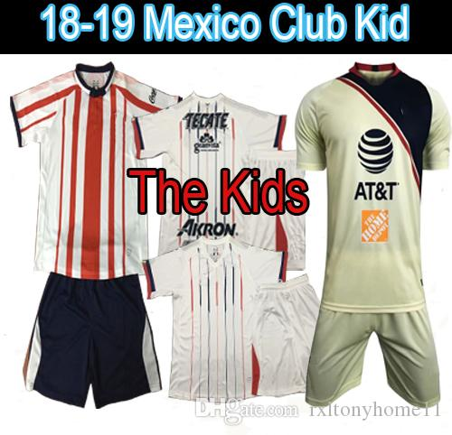 f38bfed095f 2019 Child Kids Kit 2018 2019 MEXICO CLUB LIGA MX CHIVAS Guadalajara Club  America UNAM Soccer Jerseys Home Away Youth Boys 18 19 Football Shirts From  ...