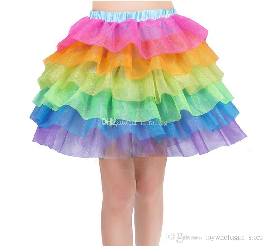 Kids Girls Rainbow Tutu Skirt Unicorn Party Tutus Baby Cake 6 layer Pettiskirt Ballet Fancy Costume dress C6803