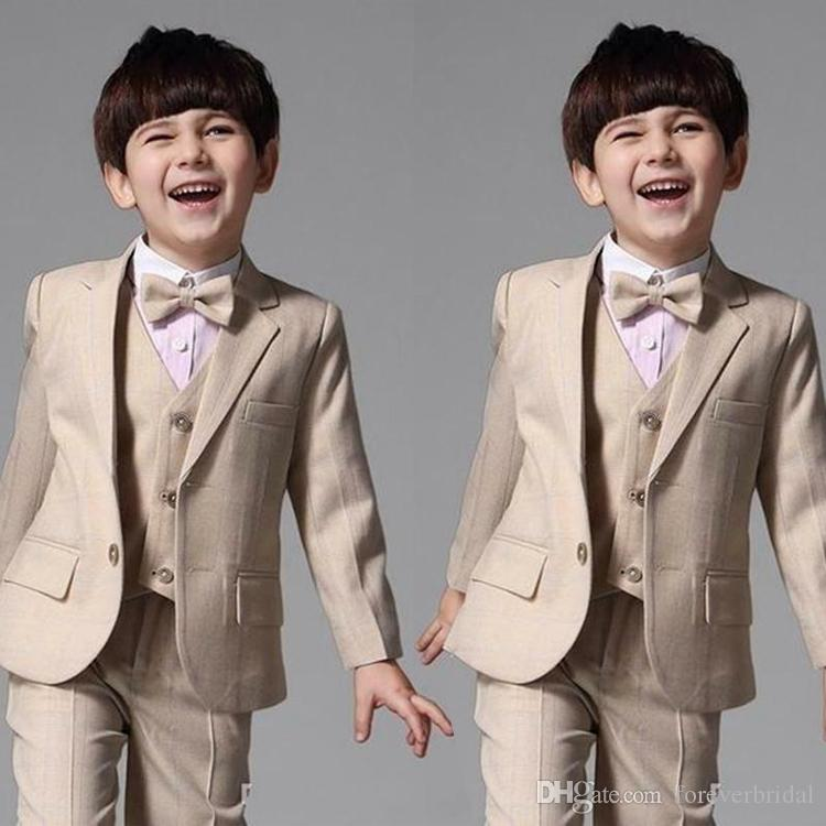 New Arrival Boys Formal Wear 3 Pieces Peaked Lapel Kids Wedding Wear Custom Made Children Clothing