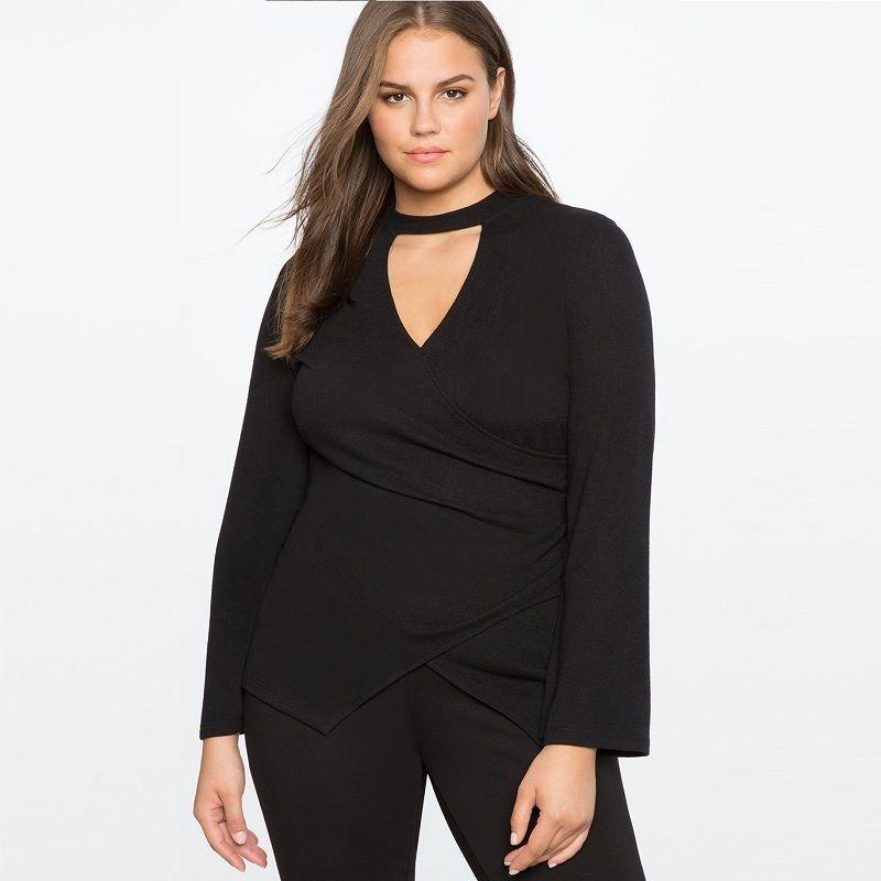 c22cdcbf8c 2019 Plus Size Women Clothing Floating Collar Sexy Wrap Top V Neck Black  Work Shirt Women Tops Winter Tunic Blouse 5xl 6xl Blusa C19041601 From  Shen8407, ...