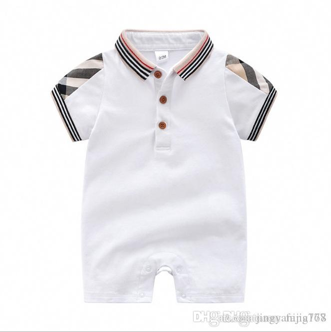 e83f6003d 2019 Hot Sale Baby Kids Clothes Short Sleeve Plaid Pattern Baby Boy ...