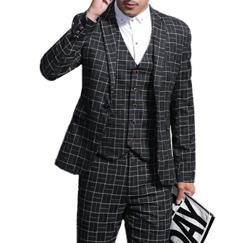 Compre Blazers Pantalones Chaleco 3 Unidades Conjuntos   Moda De Los Nuevos  Hombres Casual Boutique De Negocios Vestido A Cuadros Traje Trajes  Pantalones ... 25fc6ec5f00