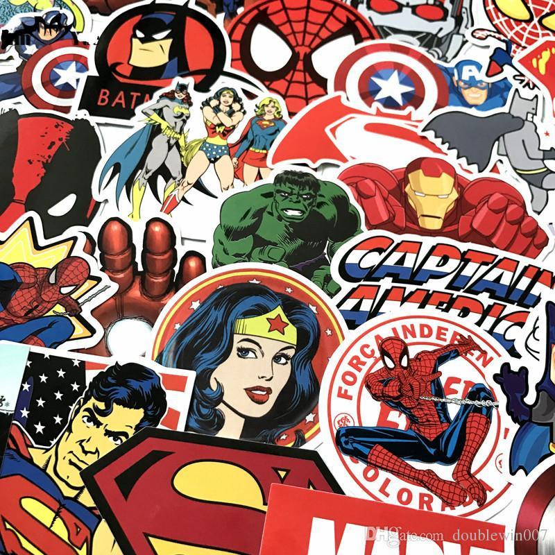 50 Adet / grup Marvel Anime Klasik Çıkartmalar Oyuncak Dizüstü Kaykay Bagaj Çıkartması Dekor Için Komik Demir Adam Örümcek Adam Çı ...