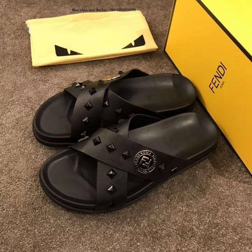 a0a8b24c4e Pantofole da uomo di marca in vera pelle Clip da infradito per uomo Stile  europeo tigre scarpe sandali con scatola