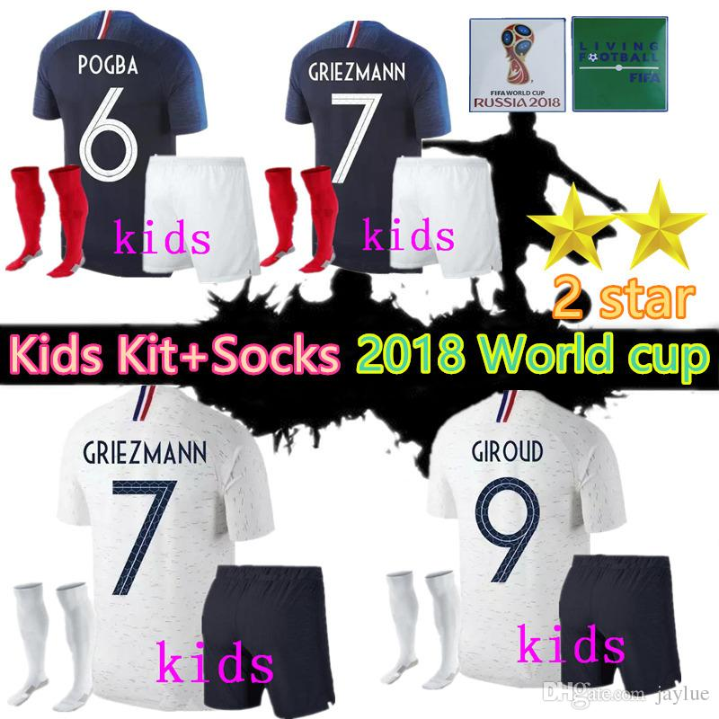 2 Star 2018 World Cup Jerseys Kids Kit+socks GRIEZMANN POGBA Home ... fcf7b2c11