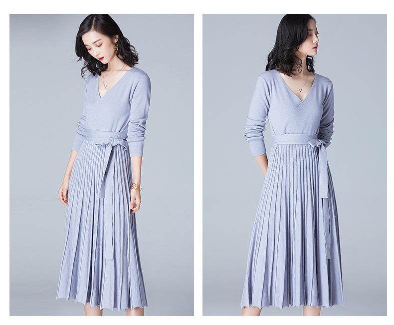 Ladies Sweater Dresses Full Sleeve V Neck Sexy Street Style Simple Dresses  Lace Up Pleated Sweater Elegant Knitted Dresses Formal Evening Gowns  Designer ... 344ea73ef