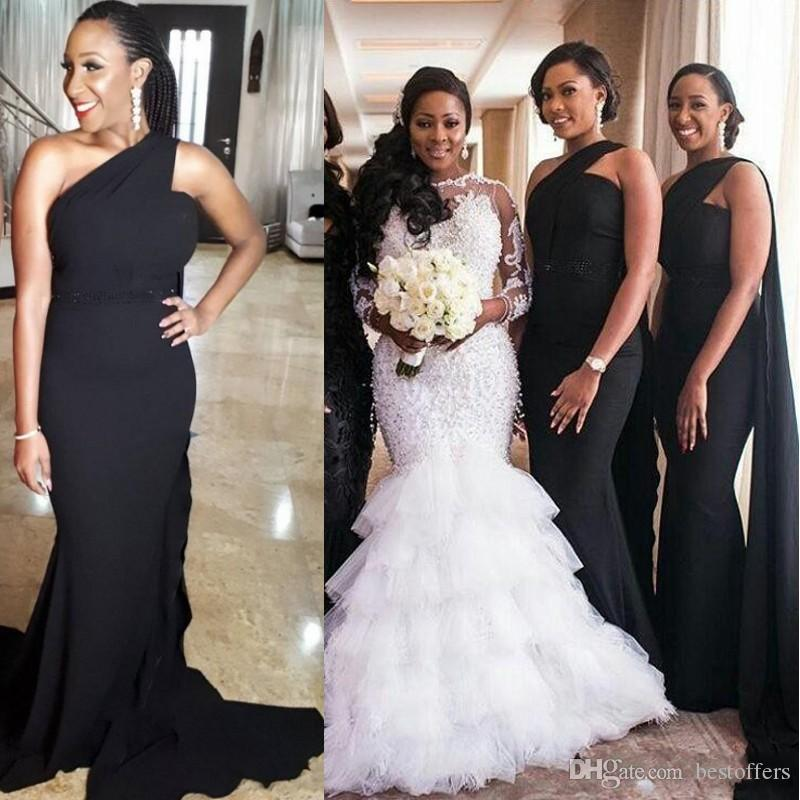 Black Mermaid One Shoulder Bridesmaid Dresses 2019 With Watteau Train  Beaded Waistline African Women Formal Gowns Wedding Party Dress Navy  Bridesmaids ... 0662fb1933b1