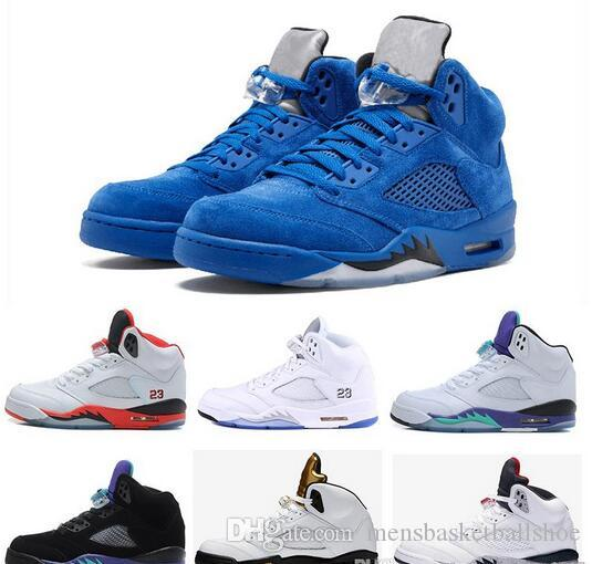 a841078e78ef1 Best Classic 5 5s V Mens Basketball Shoes Sneaker Olympic Black Cement OG  Space Jam Red Blue Suede Fire Red Sports Trainer Discount Carmelo Anthony  Shoes ...