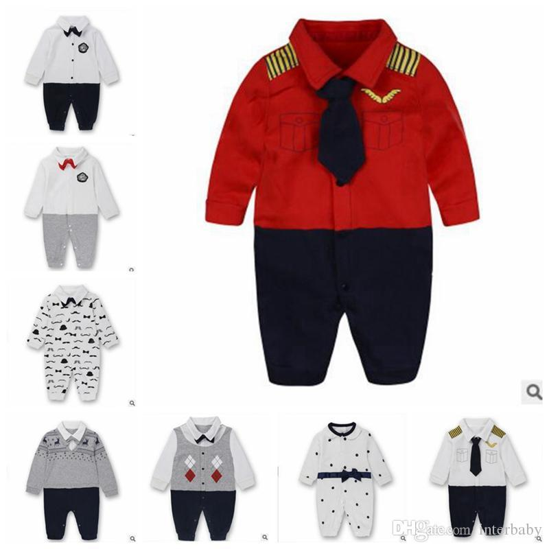 542a2f47 2019 Kids Autumn Clothing Baby Boy Gentleman Rompers Newborn Baby Long  Sleeved Jumpsuits Infant Designer Onesies Brand Toddler Clothes YL443 From  Interhome, ...