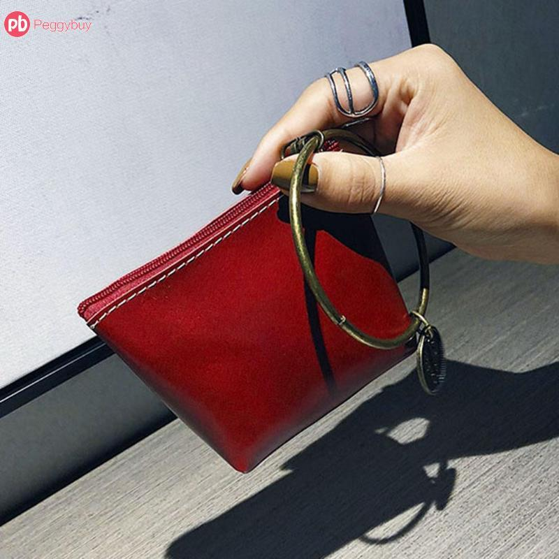 Round Ring Mini Handbags Casual Women Girls Wallet Leather Clutch Wristlets Solid Colors Zipper Bags For Teenage Girls Bolsa