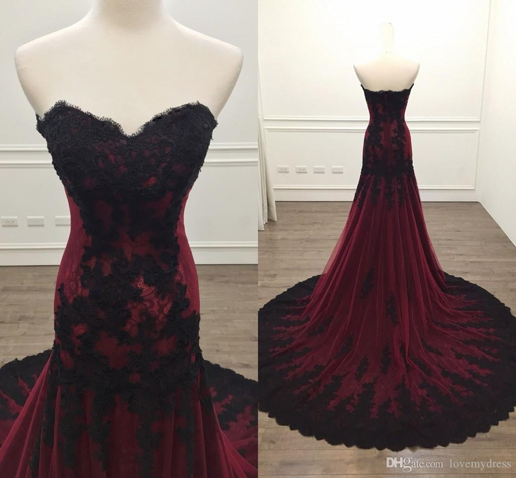 2019 Modern Mermaid Formal Evening Dresses Mermaid Black With Burgundy Lace Applique Strapless Prom Dress Plus Size robes de bal