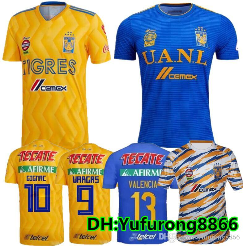 1794100f4 2019 TOP QUALITY 18 19 Mexico Club Tigres UANL Soccer Jersey Yellow Home 6  Stars 2018 2019 GIGNAC Vargas H. Ayala 3RD Away Blue Football Shirt From ...