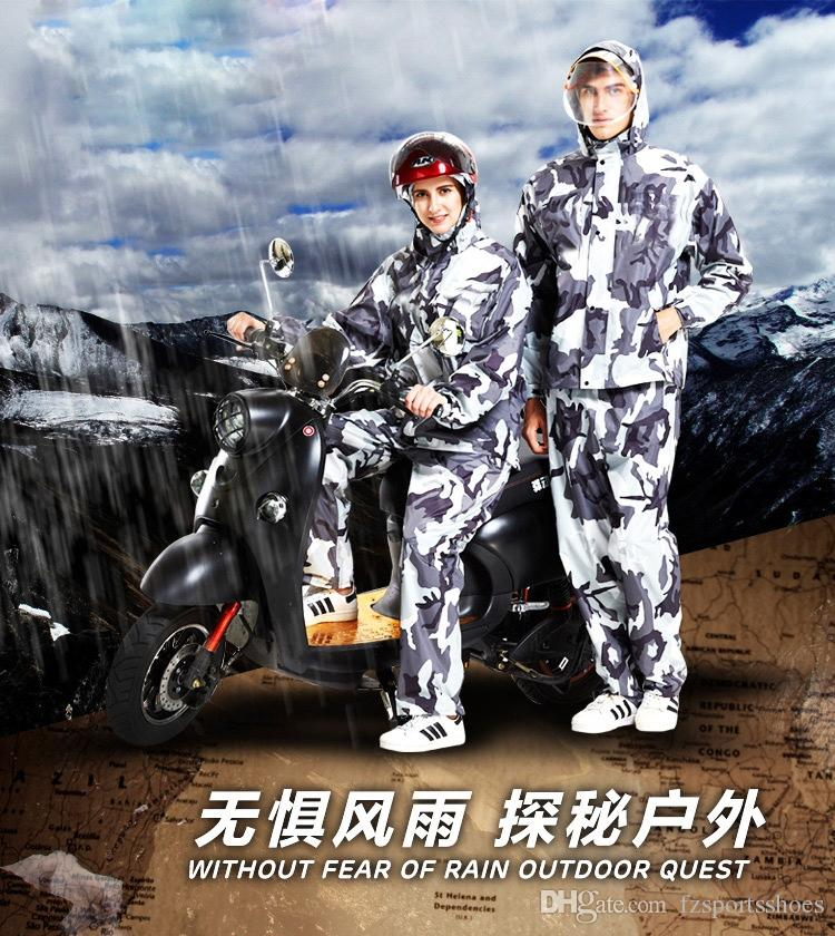 Camouflage raincoat rain pants suit adult walking split motorcycle men and women riding thick waterproof body raincoat #179433