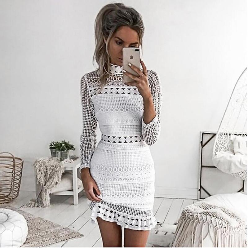9af74c76144933 2018 femmes blanc dentelle casual robe automne manches longues élégant  patchwork mini robe de soirée sexy moulante courte vêtements féminins ...