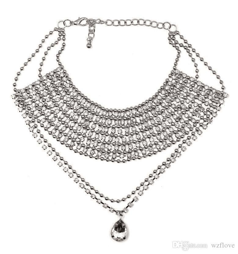 79440efa475b Popular Necklace New Shiny Crystal Rhinestone Bra Ladies Body Chain Long  Pendant Tassel Strap Necklace Jewelry Harness Rhinestone Crystal Women's  Fashion ...
